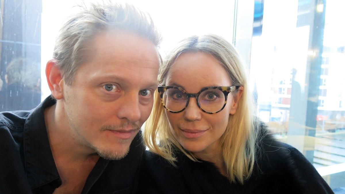 Thure Lindhardt och Sofia Helin, som spelar Henrik och Saga i Bron. Foto: Björn Jansson/Sveriges Radio.