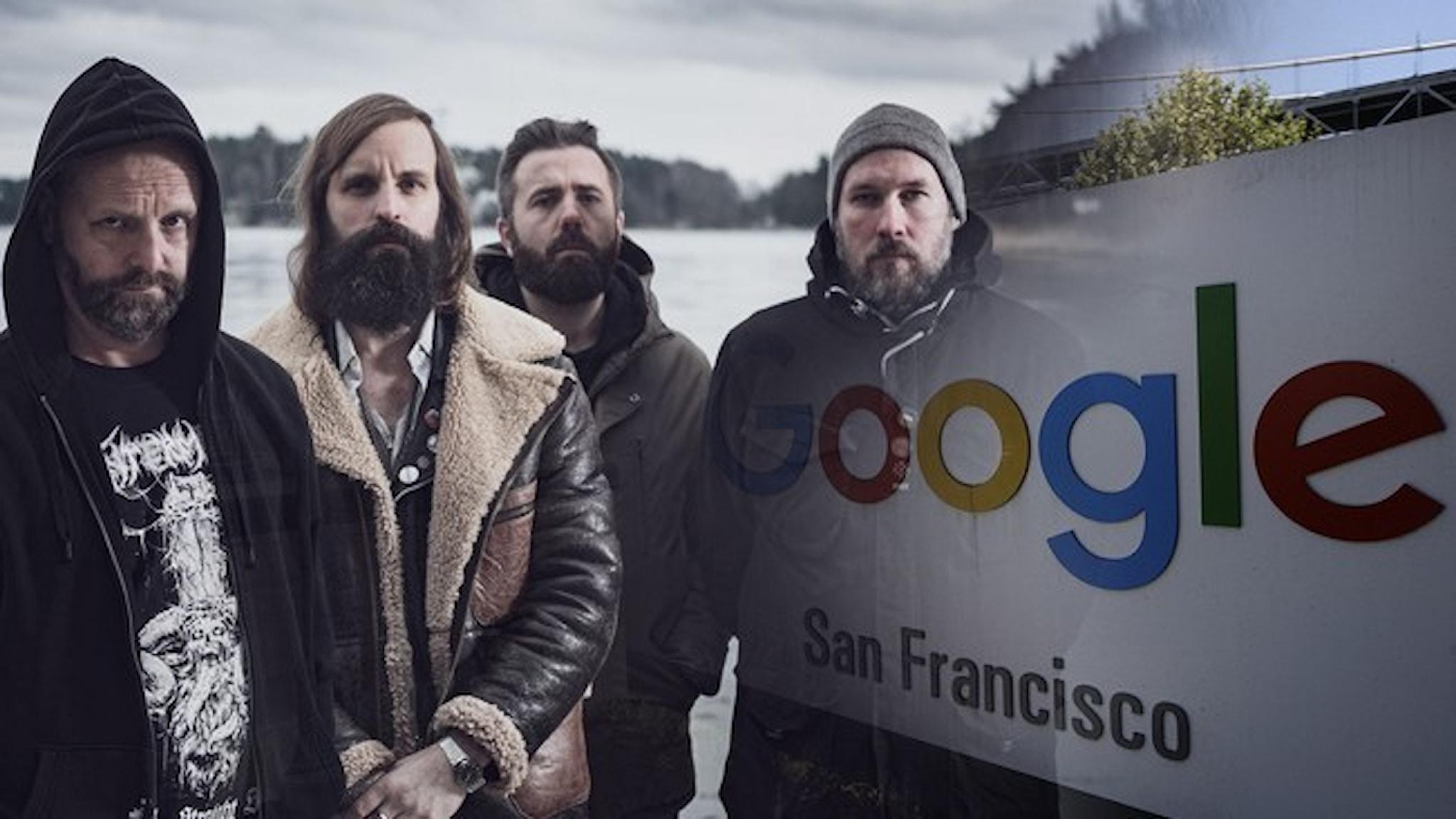 Hårdrockbandet Horndal som smälter samman med en bild av Googles logga.