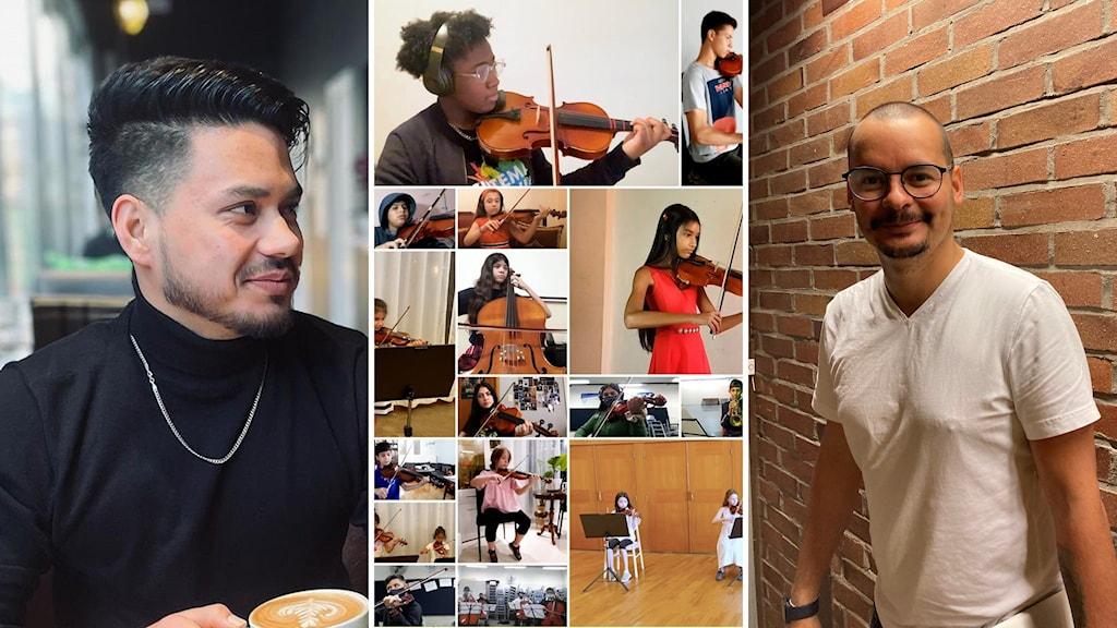Man i profil, kollage av musikelever som spelar instrument samt man stående vid vägg