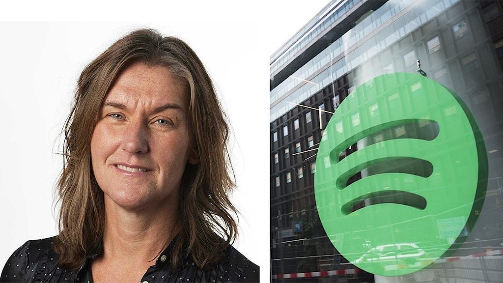 Anna Karin Larsson, musikchef på Sveriges Radio och en bild på Spotifys huvudkontor.