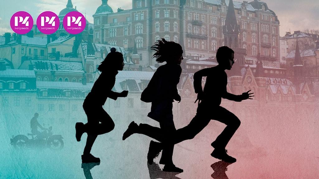 Skuggor av tre barn som springer i en stadsmiljö
