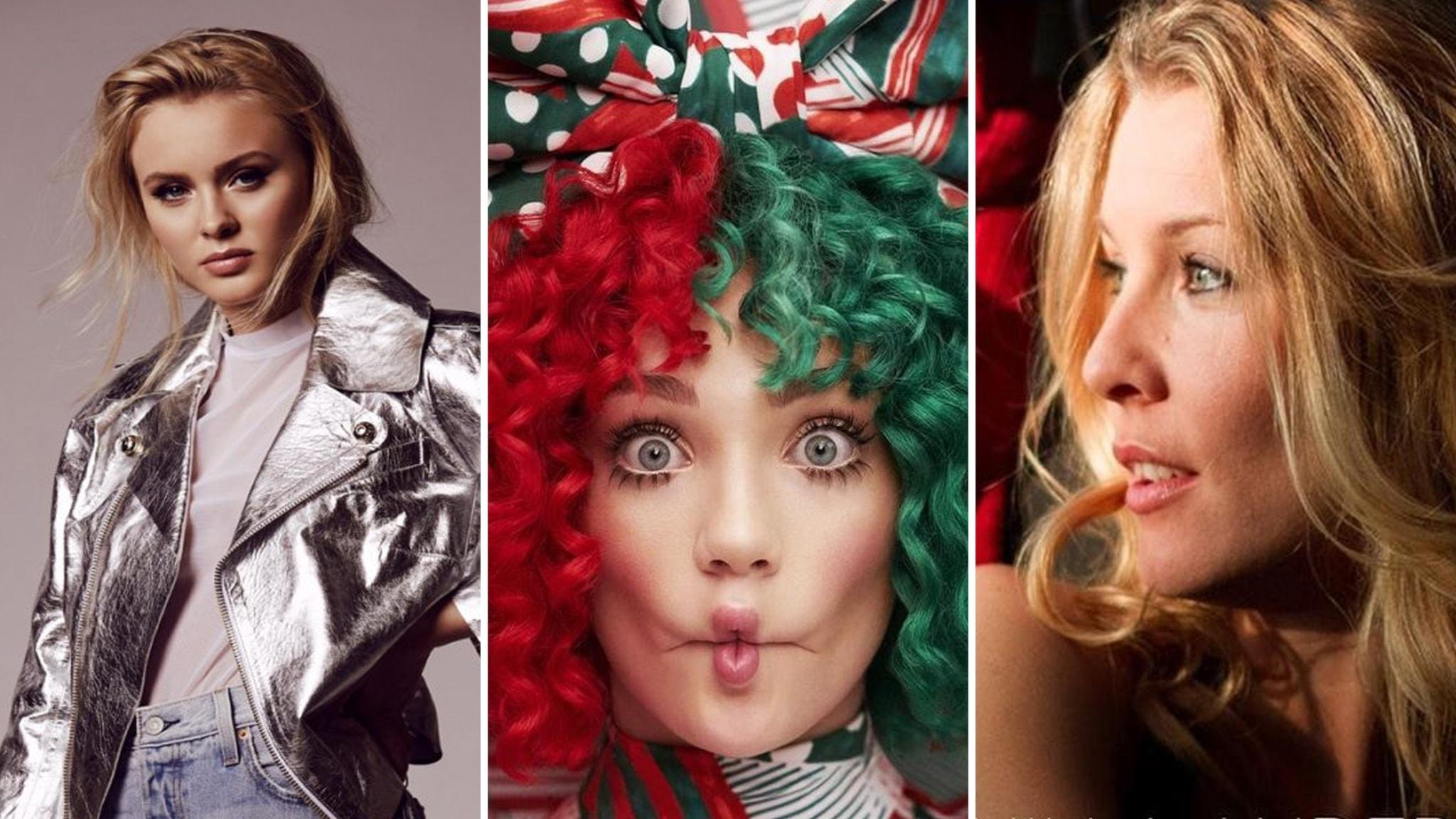 Zara Larsson, Sia och Pernilla Andersson har gjort julmusik 2017.