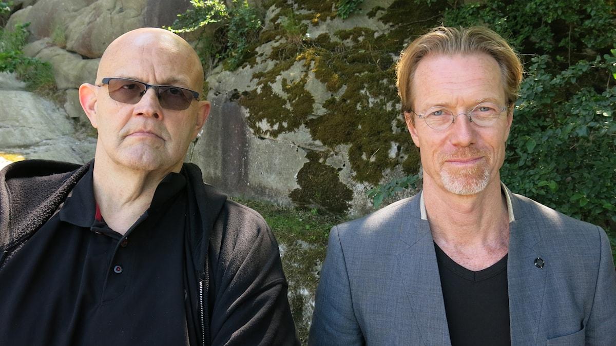 """Börge Hellström och Anders Roslund, aktuella med kriminalromanen """"Tre minuter"""". Foto: Björn Jansson/Sveriges Radio."""