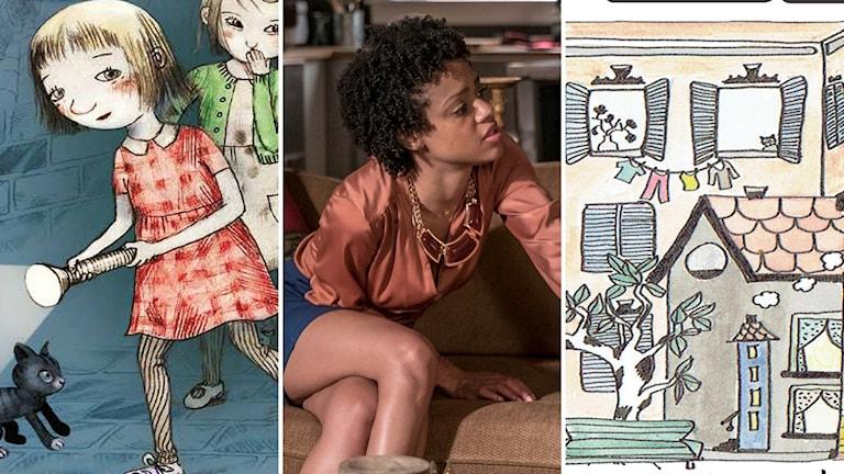 """Barnboken """"Hjördis"""" av Jujja Wieslander, tv-serien """"The Chi"""" och podcasten och skivan med sagor och musik """"I en stad""""."""