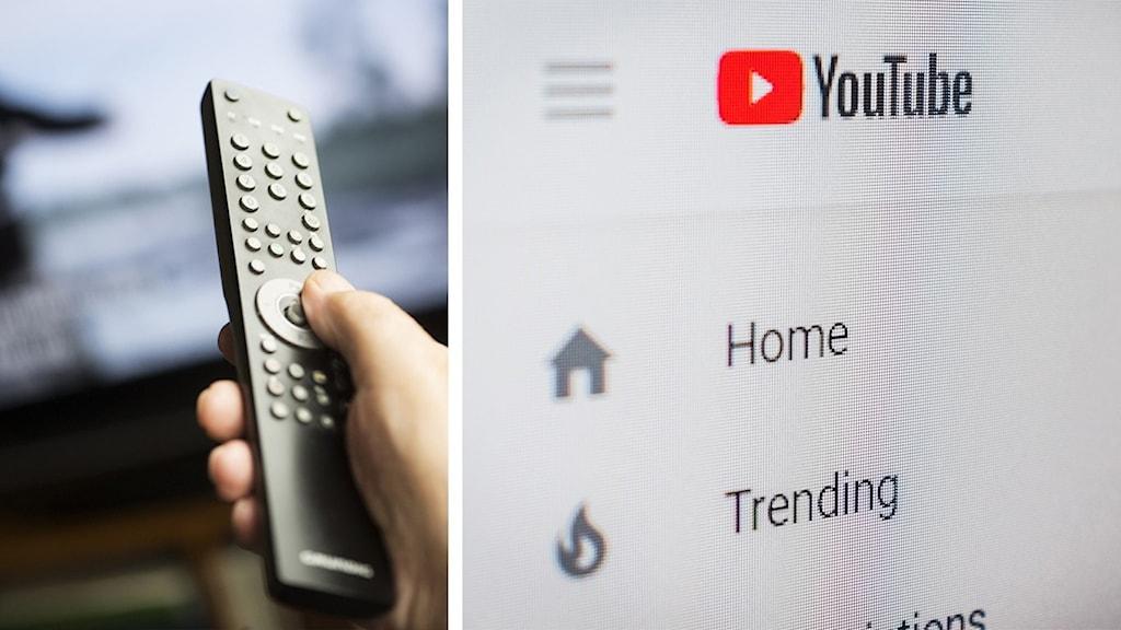 En hand som håller fjärrkontrollen och en bild på Youtubes startsida.