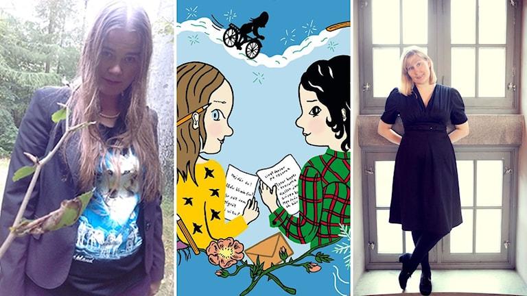 """Eva Björkstrand, boken """"Sigrid och Affe firar alla hjärtans dag"""" och Moa Eriksson Sandberg."""