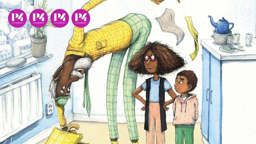 """Barnboken """"Morfar flyttar in"""" av Eva och Jali Madi Susso och Marcus-Gunnar Pettersson."""