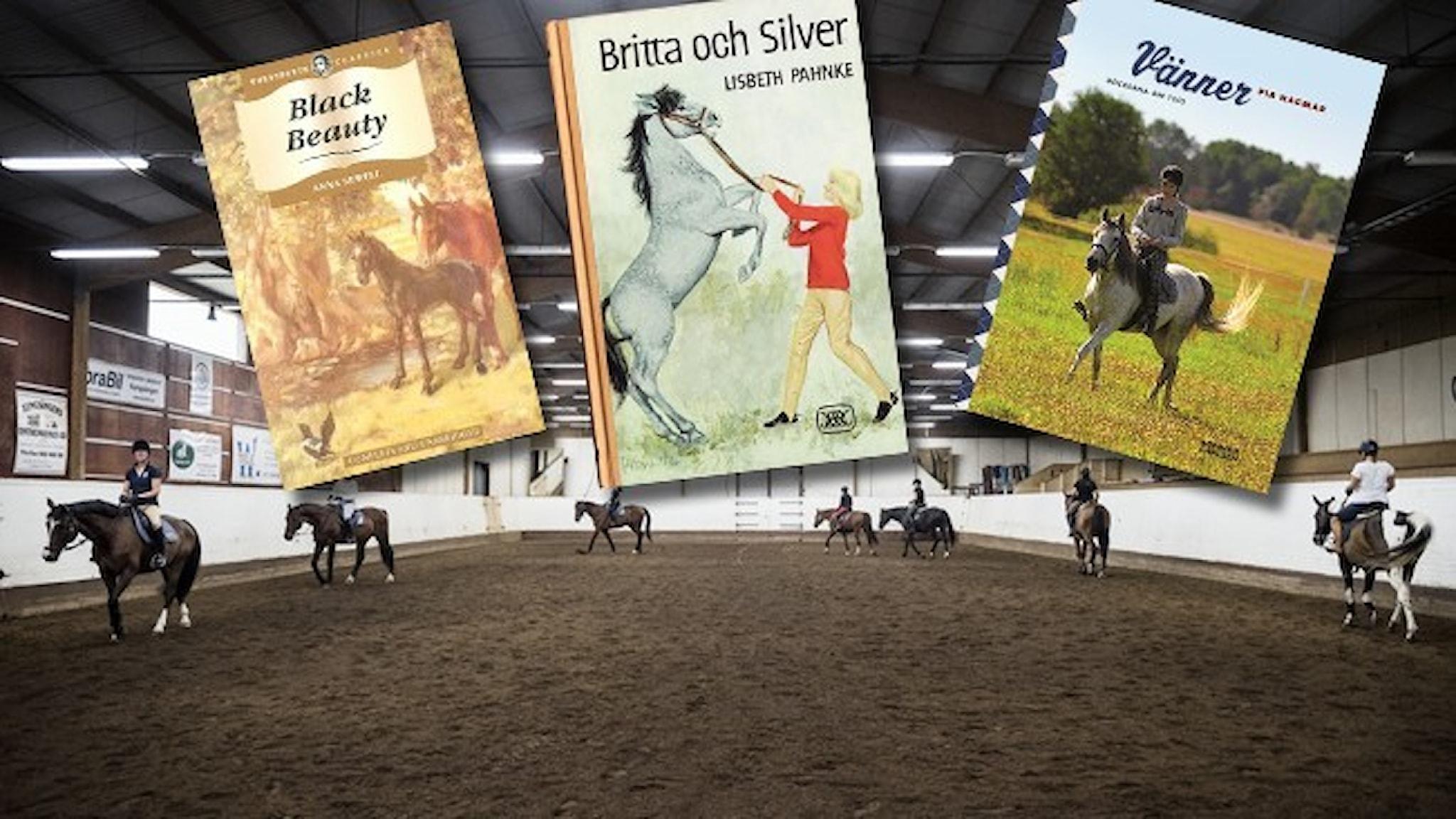 En ridskola där sju hästar och ryttare rider på led. Infällt i bilden är tre omslag till så kallade hästböcker.