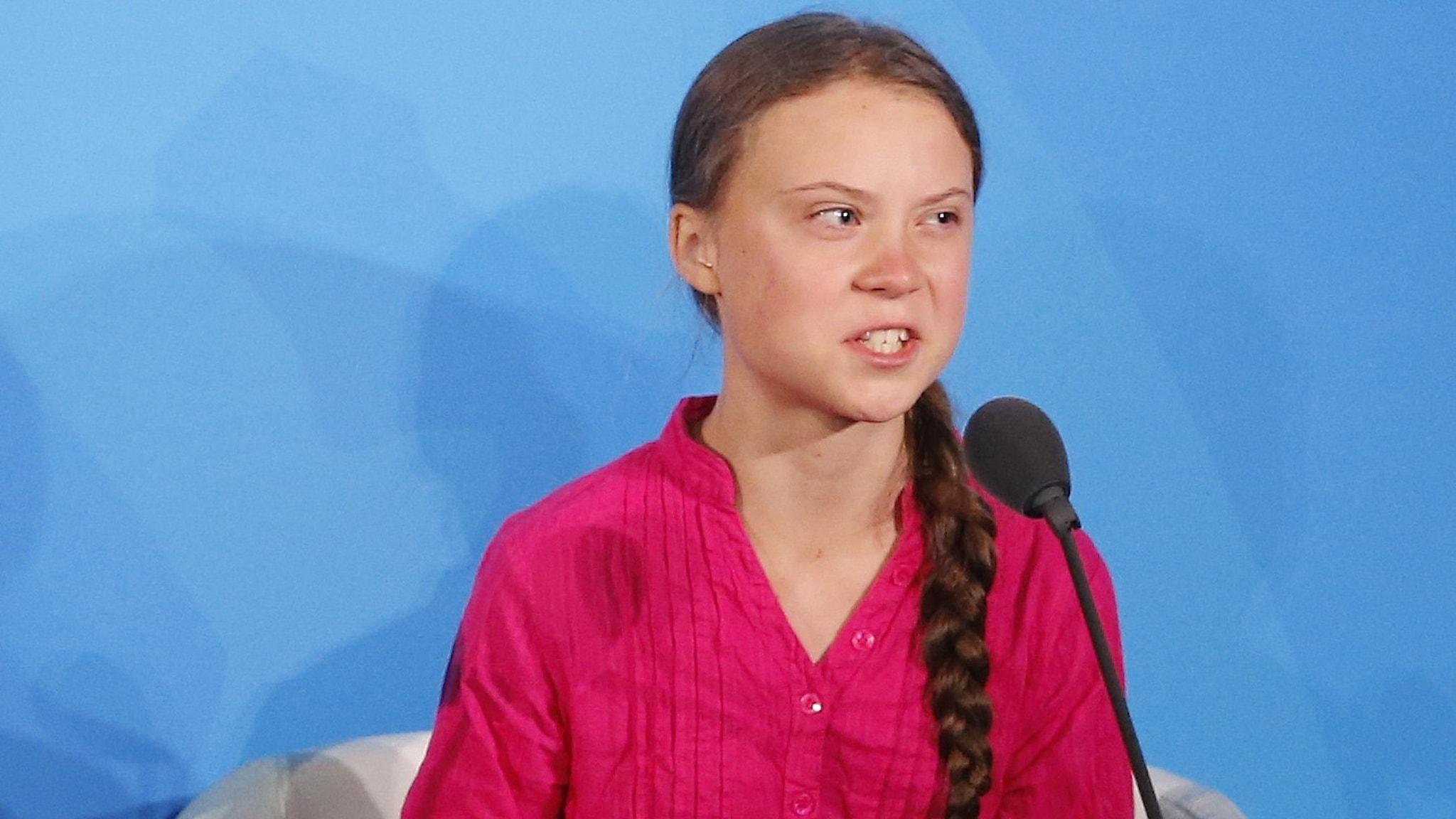 Greta Thunberg talar i FN