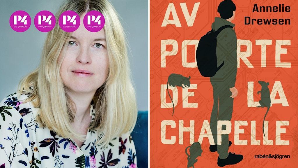 Kvinna samt tecknat bokomslag med kille med ryggsäck och råttor som klättrar på bokstäverna.