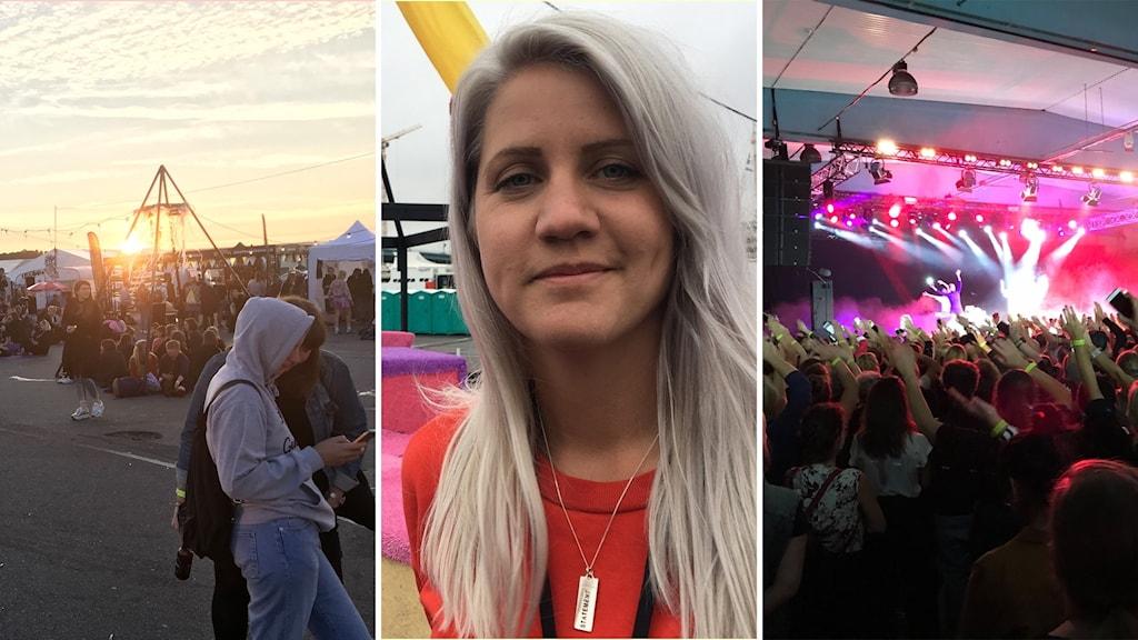Musikfestival med solnedgång, grundaren Emma Knyckare och publik.