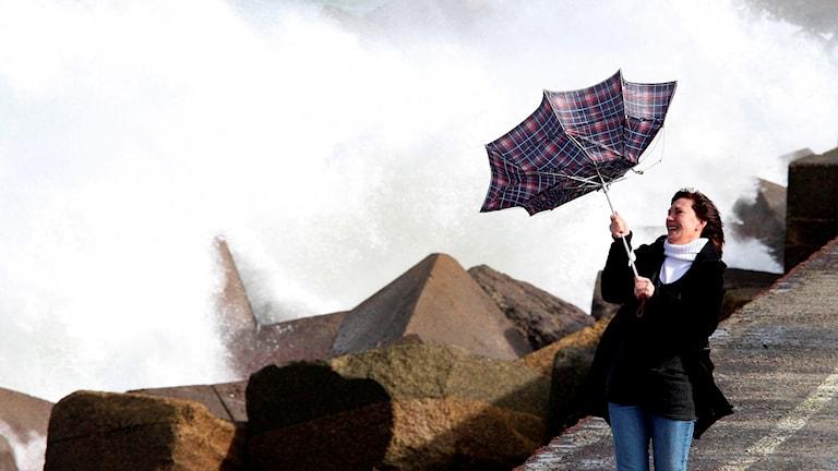 Paraplyet som tillhör en kvinna som går på strandpromenaden nära det vågiga och blåsiga havet vänds ut och in.