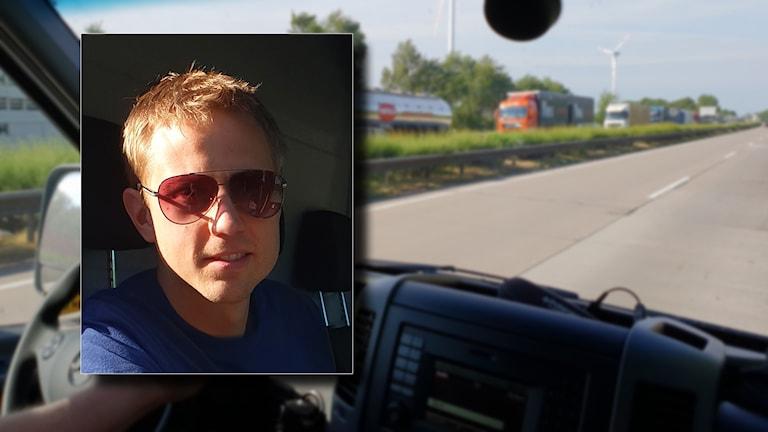 Bild på Oskar Kåver i solglasögon lagd på en bild tagen ifrån passagerarsätet i en bil som färdas fram på Autobahn.
