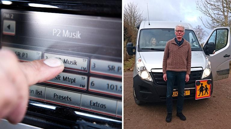 Ett finger som trycker på P2 på en bilstereo och bussföraren Peter Malmberg framför sin skolbuss.