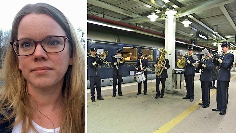 Åsa Plesner och Blå tågets blåsorkester på perrongen på Stockholms central
