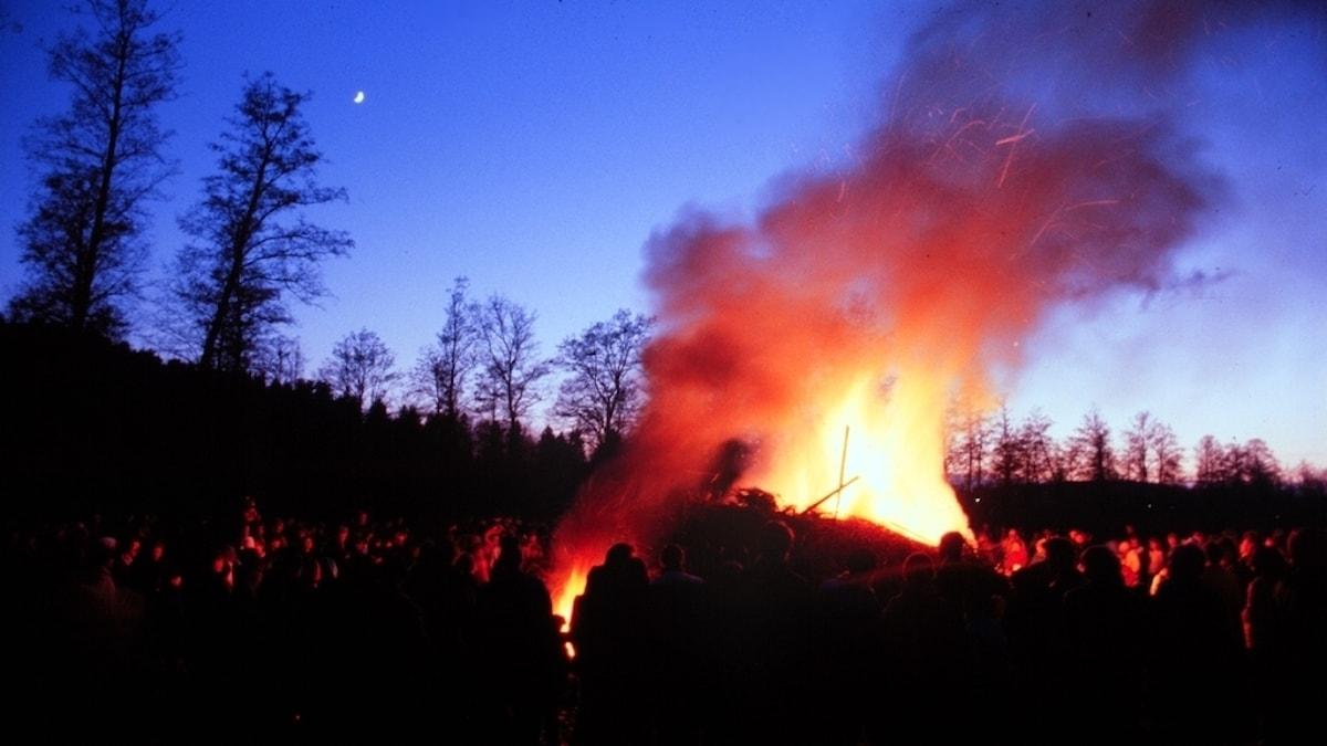 Människor samlade runt en eld på valborgsmässoafton.