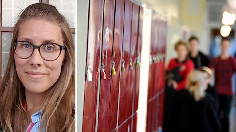 Linn Hentschel vid Umeå universitet och elever vid elevskåp i en skolkorridor.