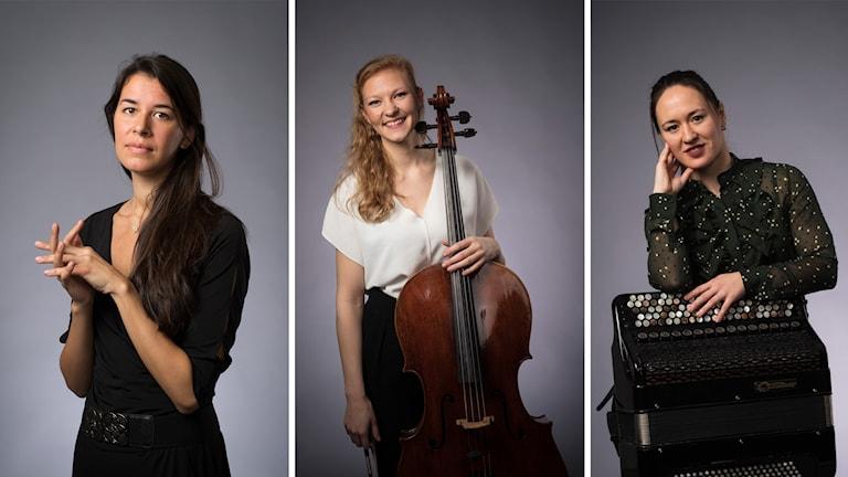 Finalister i Solistpriset 2018: pianisten Melissa Jacobson-Velandia, cellisten Amalie Stalheim och accordeonisten Irina Serotyuk.