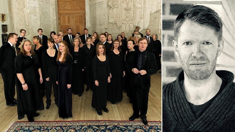 Uppsala akademiska kammarkör sjunger i Uppsala slott, bredvid ett porträtt på David Åberg.