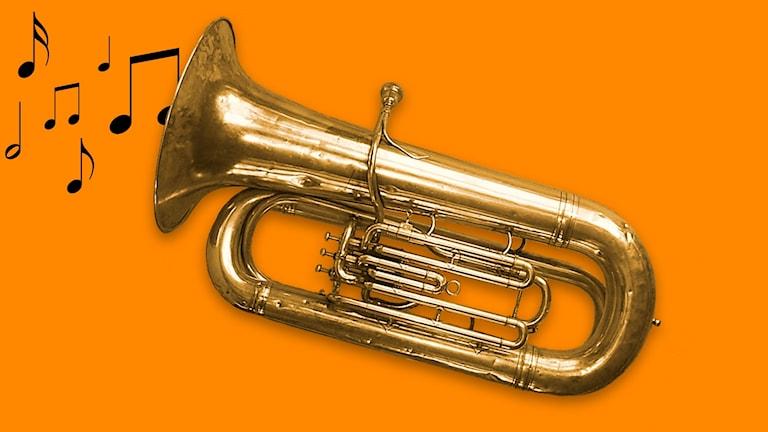 En tuba som det kommer noter ur.