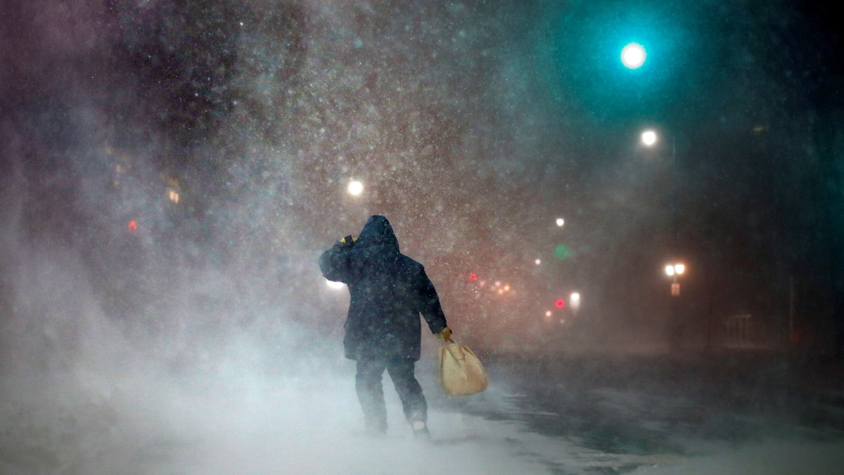 En person håller upp huvan på sin jacka för att skydda sig mot snöstormen.