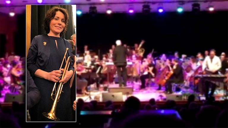Eleonore Åkerlund med sin trumpet framför en helbild på en orkester.