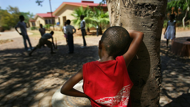 Kille i Botswana står vid träd.