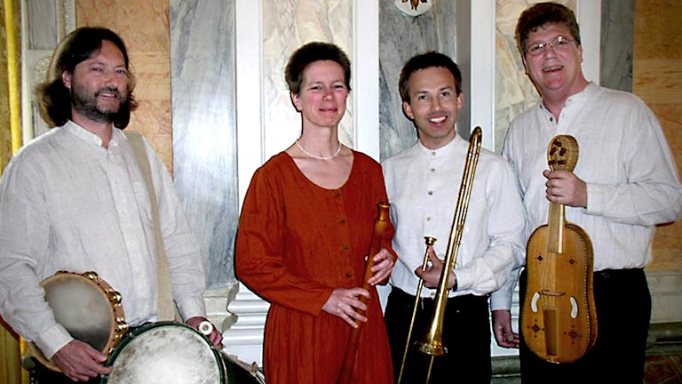 Johan Folker, Ute Goedecke, Stefan Wikström och Per Mattsson i Ensemble Laude Novella.