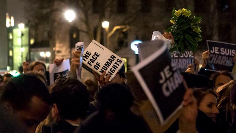 Manifestation till Charlie Hebdo på Trafalgar Square.