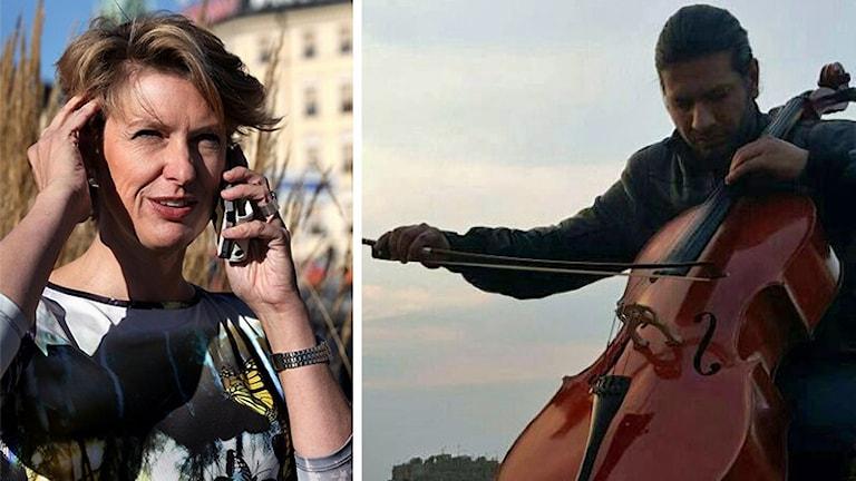 Musikjournalisten Sofia Nyblom till vänster står med en mobiltelefon mot örat. Till höger cellisten Abboud Koujer från Syrien som spelar på sin cello.
