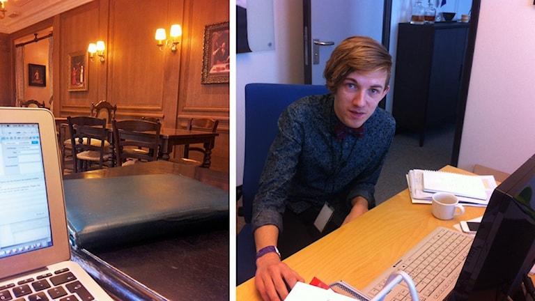 Till vänster caféet där Eric Luth börja sina morgnar, till höger Eric vid sin arbetsplats på EU-parlamentet.
