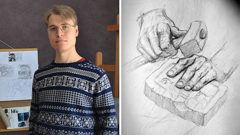 Staffan Alsparr i sin ateljé. Bredvid syns den teckning som han gjorde medan han lyssnade på musik som han önskade i programmet. Man ser två händer, där den ena håller i en hammare och den andra håller i ett slags stenblock.