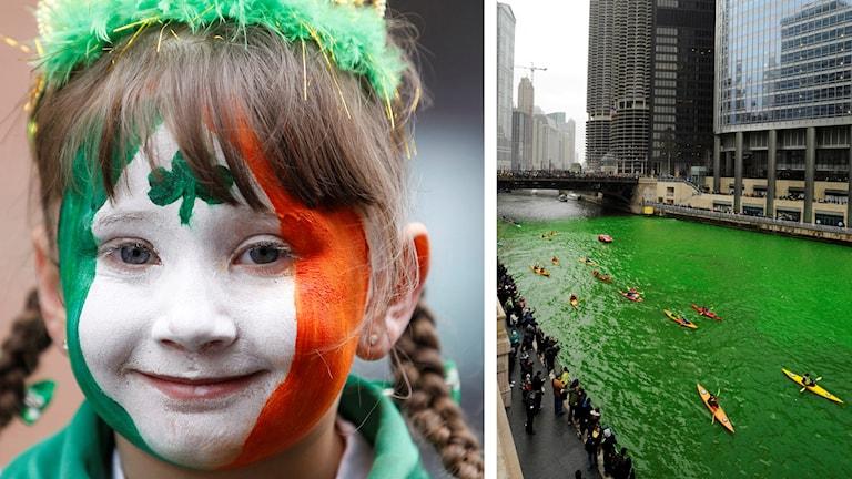 En flicka med irlands flagga som ansiktsmålning firar St Patrick's Day. Kajaker i floden Chicago rivers grönfärgade vatten.