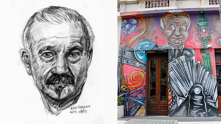 Till vänster en blyertsteckning på den argentinske kompositören Astor Piazzolla och till höger en väggmålning där han ses spela på sin bandoneon.