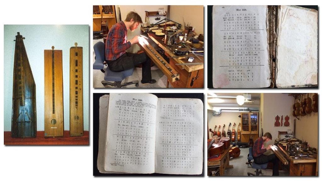 Instrumentet psalmodikon, en instrumentmakare som restaurerar ett psalmodikon och en gammal sliten psalmbok med sifferskrift.