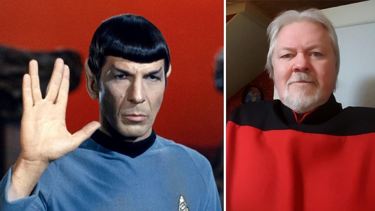 Leonard Nimoy i rollen som Spock i tv-serien Star Trek bredvid en bild på trekkern Kent Backman iklädd en Star Trek-kostym.
