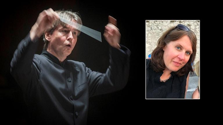 Dirigenten Esa-Pekka Salonen viftar med dirigentpinnen. Bredvid en bild på körsångaren Sara Fahlander.