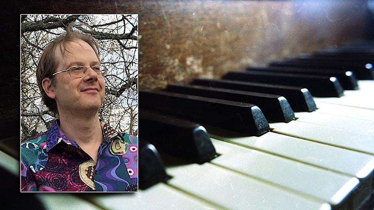 Martin Danielsson och närbild på pianotangenter.