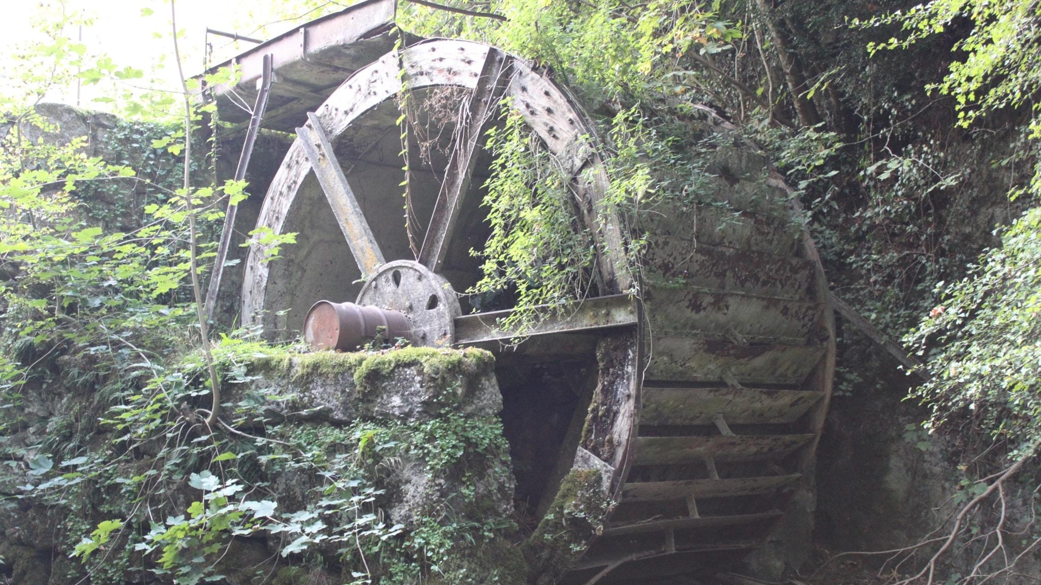 Ett gammalt kvarnhjul i trä som inte längre är i bruk.