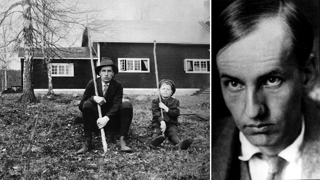 Porträtt av poeten Dan Andersson bredvid en bild där Dan sitter i gräset framför Brunnsviks folkhögskola tillsammans med en liten pojke. De har båda varsin lång pinne i sina händer.