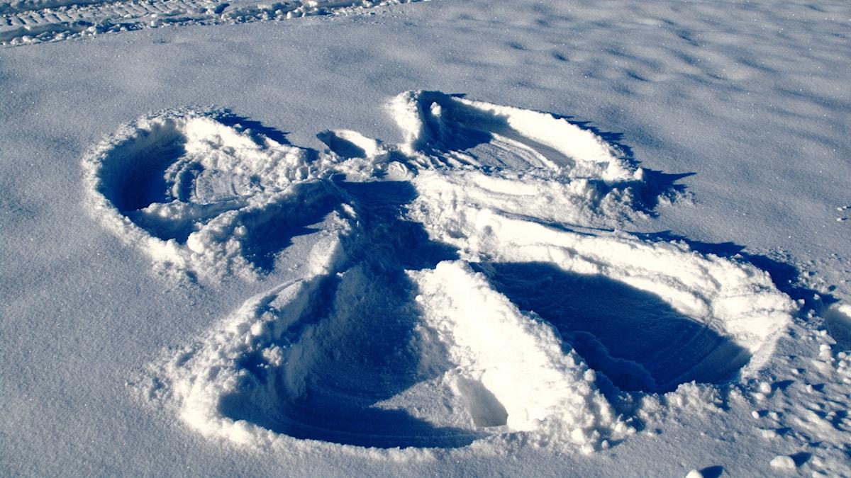 Snöängel på marken.