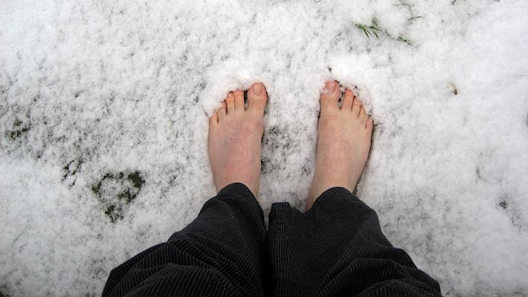 Två barfota fötter som står i snö.