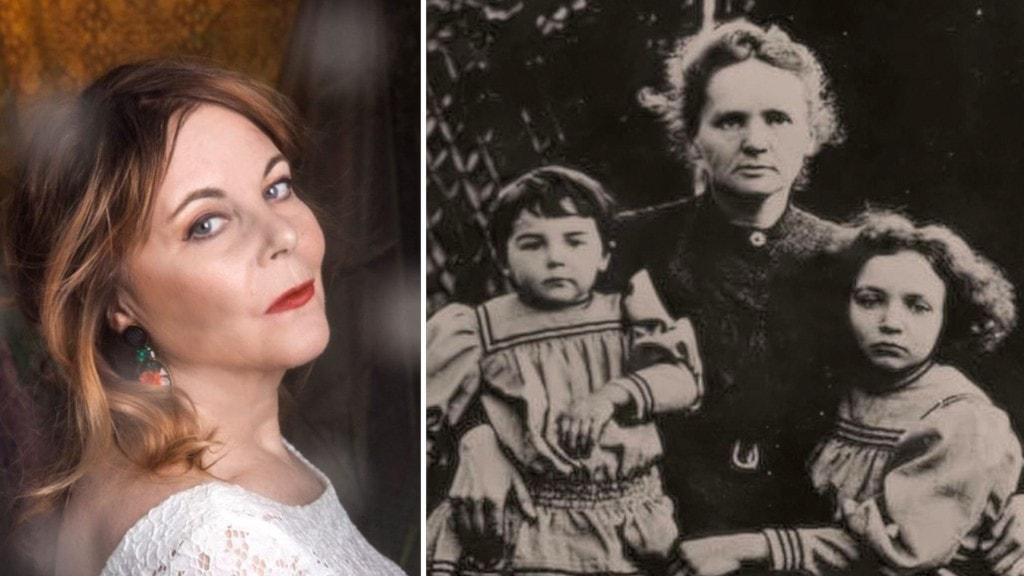 Camilla Ringquist bredvid en gammal svartvit bild på forskaren Marie Curie som sitter med sina två döttrar i knät.