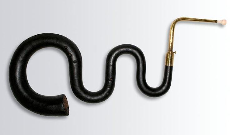 Instrumentet serpent som ser ut som som en slingrande orm.