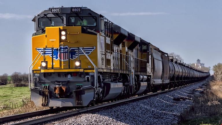 Gult Pacific-tåg på järnvägsräls.