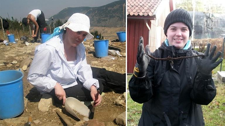 Amanda Wuopio i sin yrkesroll som arkeolog. Med spade och pensel sittandes på marken vid en utgrävning.