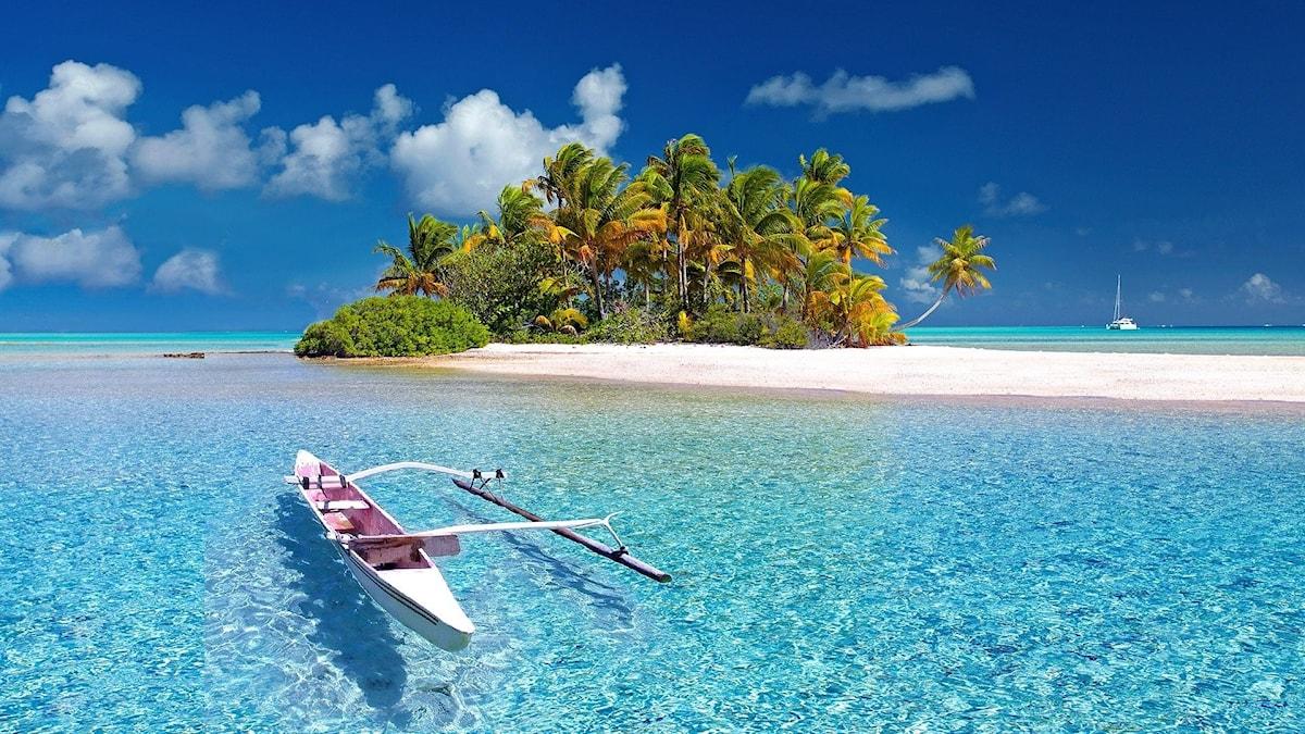 En kajak i det genomskinliga vattnet nära en ö i Tahiti.