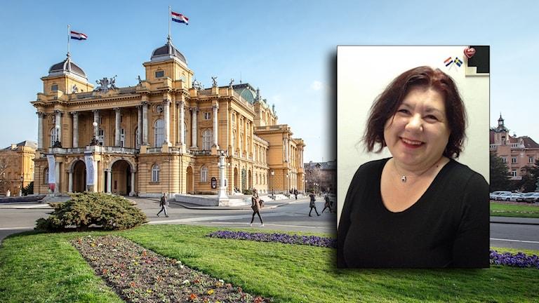 Vlatka Glasnovic infälld framför en bild av Kroatiska nationalteatern i Zagreb.