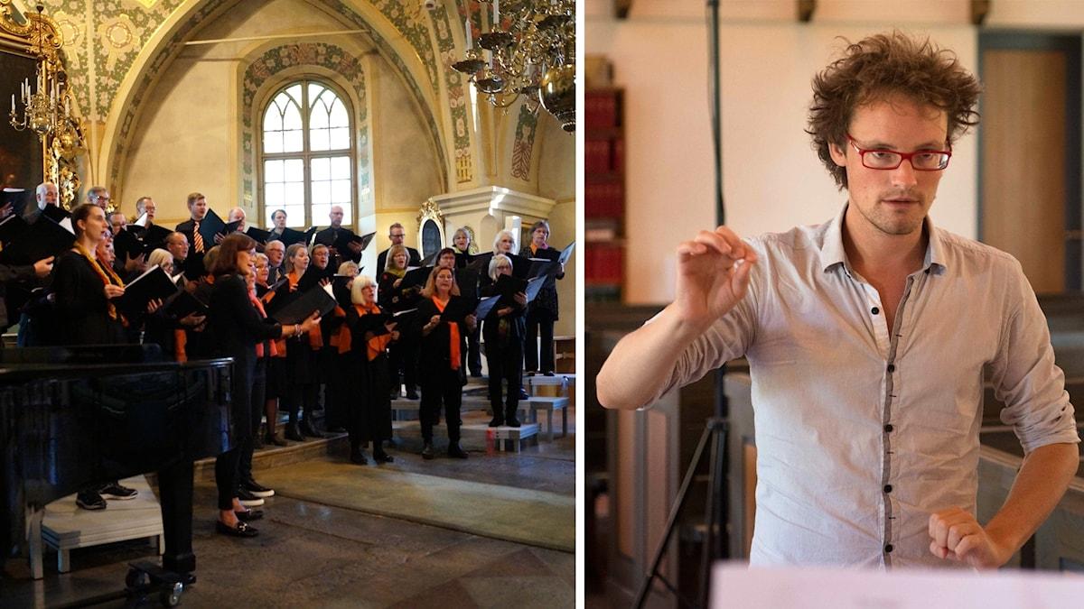Körsångare i en kyrka samt dirigenten och tonsättaren Anton Leanderson-Andréas.