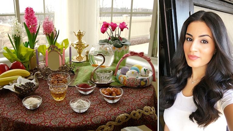 Pardis Manuchehri och ett bord med den typiska Nourozdukningen.